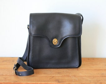 Vintage COACH Navy Shelton Messenger Bag 9917/ Coach Dark Blue Leather Crossbody Saddle Bag Purse