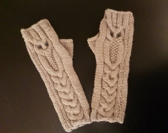 Knit Fingerless Gloves Pattern Straight Needles : Owl fingerless glove Etsy