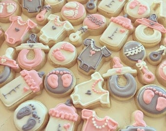 Mini Pink and Grey Baby Shower Cookies