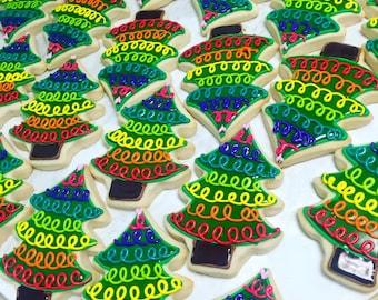 Rainbow Banner Christmas Tree Cookies