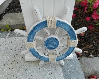 12 inch wooden ships wheel / beach decor / nautical decor