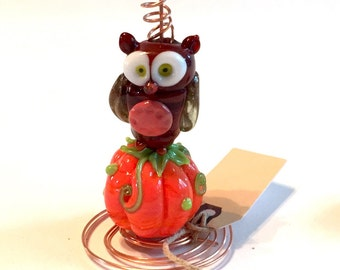 little brown owl atop his pumkin sculpture   Ready to ship