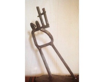 Handmade Steel Sculpture -Single Stick Welded- Local Unknown Artist -Smoking Hand- New Hampshire