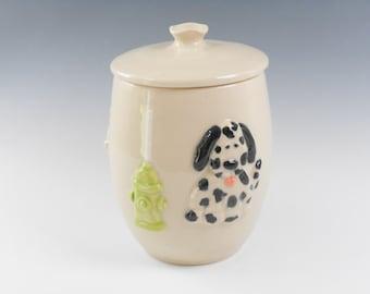 Dog treat jar -  dog jar -  dog lovers jar - pottery canister - ceramic canister J63
