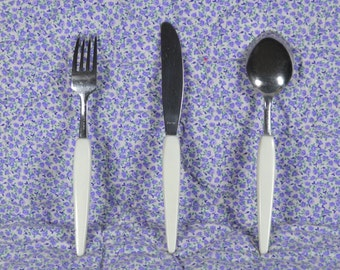 Vintage Kids Silverware Set, Childs Stainless Knife Fork & Spoon, Grow Up Eating Set, 3 Eating Utensils, Hard Plastic Handles, Japan
