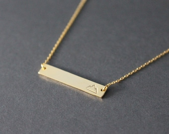 Mountain necklace // Gold Mountain Necklace // hand stamped mountain necklace // Gold bar necklace