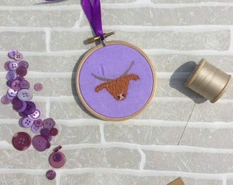 SALE Highland Cow, Embroidery Hoop Art, Purple Home Decor, Scottish Home Decor, Cow Art, 3 inch Hoop, Wall Hanging, Scottish Gift