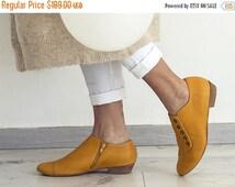 September sale Yellow handmade shoes / Grace Yolk flat leather shoes by Tamar Shalem