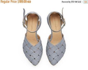 SUMMER FINAL SALE Sophie,  light Blue Sandals, Leather Sandals, handmade, flats, leather shoes, by Tamar Shalem