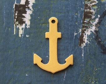 """Brass Anchor Stamping Blank - 1"""" x 1 1/2"""" Metal Stamping Blank - 24 Gauge - Pack of 5 - Jewelry Metal Stamping Blank - SGET-801"""