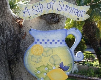 Summer Wood Hanging Sign or Yard Stake - Outdoor or Indoor Welcome Door or Wall Greeting