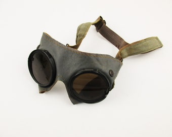 Vintage Goggles - Leather and Glass With Adjustable Head Strap - Leather Framed Glass Goggles With Air Vents - Possible Military