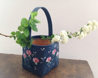 Vintage Swedish basket Small Square basket Handmade Scandinavian wicker basket Painted blue pink white floral basket