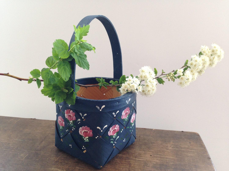 Handmade Small Baskets : Vintage swedish basket small square handmade