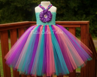 Ocean/Beach Inspired Flower Girl Tutu Dress in Purple Coral and Turquoise
