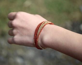 Red Jasper Beaded Wrap Bracelet, Long Multi Strand Necklace