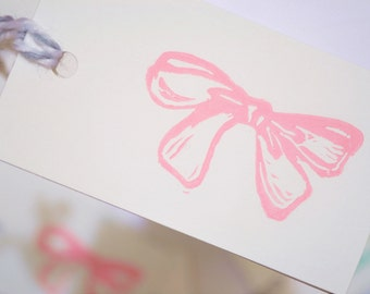 Pink Bow Gift Tags - Pack of 6, Hand-Stamped Tags