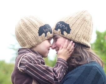 Baby Bear Hat/ Mama Bear Hat/ Papa Bear Hat/ Mama Bear/ Baby Bear /Mommy and Me / Mommy and me hats/ Mommy and me/ Mother's Day Gift