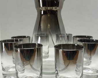 Set of 8 of Queens Lustreware Shooter Glasses + Carafe Server Silver Ombre 60s