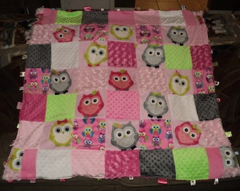 "Handmade Personalized Patchwork ""Owl"" Inspired Tag Blanket"