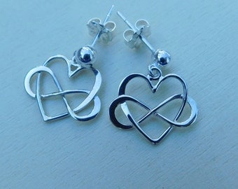 Sterling silver earrings, sterling silver post earrings, heart earrings, silver heart earrings, infinity jewelry