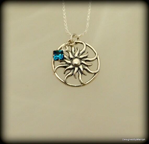 Sterling silver sunburst necklace, birthstone necklace, celestial jewelry, sunshine necklace