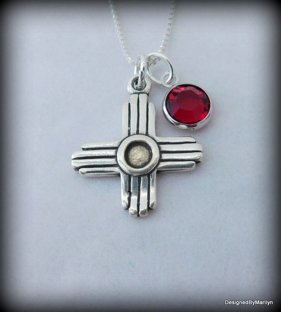 Sterling silver Zia symbol necklace of New Mexico, Zia Sun symbol, Zia Pueblo necklace, spiritual jewelry