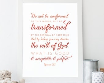 INSTANT DOWNLOAD - Romans 12:2 - Bible Verse Wall Art - Scripture Print - DIY Printable - Christian Print