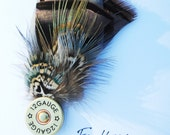 Feather Hat/Lapel Pin, with Shotgun Shell, FREE Shipping in US
