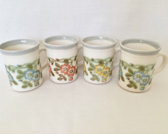 BILTONS POTTERY MUGS - Yellow, Blue & Orange Swags of Flowers - Floral Mugs - Vintage Pottery Mugs