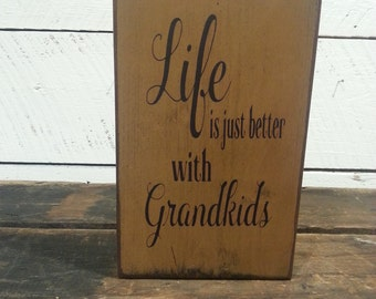 Life Is Just Better With Grandkids, Wood Block Sign, Home, Family