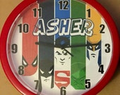 Personalized Superhero Inspired Wall Clock