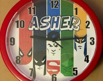 Personalized Superhero Inspired Wall Clock