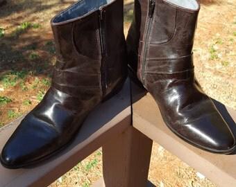 Stacy Adams Dark Chocolate Zip Boots 8.5