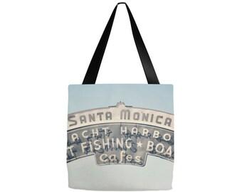 Santa Monica tote bag, California Tote bag, Grocery sack, teacher tote, gym bag, beach bag, yoga gear, diaper bag, gifts, birthday, Mom