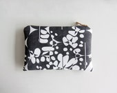 SAMPLE SALE Black and White Credit Card Wallet, Screen Printed Zipper Pouch or A Small Cosmetics Bag Made From Vegan Suede
