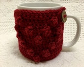 SALE!! Crochet Bubble Heart Coffee Mug Cozy with distressed wooden button, Mug hugger, cup cozy