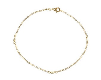 Pearl Chain Anklet, Thin Gold Anklet, Gold Anklet, Gemstone Anklet, Fresh Water Pearl