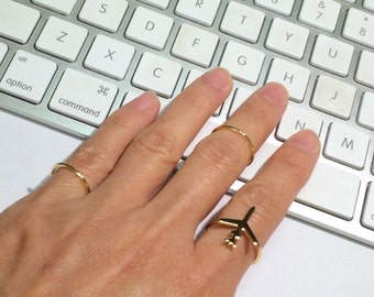 Gold Airplane Ring, Gold Ring, Stack Ring, Thin Gold Ring