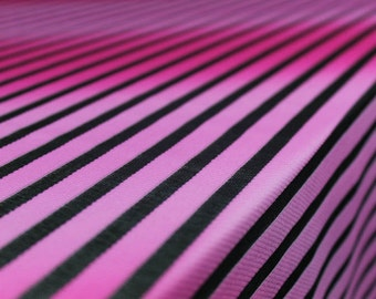 Hot Pink Ombre Jersey and Mesh Knit Stripe Mesh Lace Fabric by Yard - Style 40001