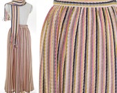 Vintage 1970s Women Gathered Striped Knit Skirt with Scarf / Multi Color Long Skirt / Hippie Skirt / Boho Skirt / Lined Skirt