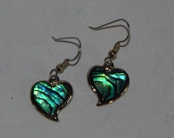"Silver heart dangle earrings: 2"", blue shimmer lacquer"