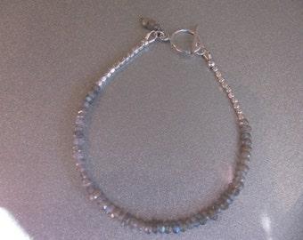 Labradorite Gemstones and Sterling Silver Bracelet  -ToniRaeCreations