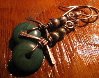 GreenTagua Nut Copper Handmade/Hand Forged Dangle Earrings Sterling Silver Earrings Cairn Toniraecreations