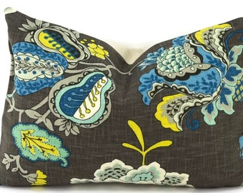 Charcoal, Shades of Blue, Off White Linen Jacobean Floral Pillow Cover, Lumbar Pillow Cover, 13x17, Throw Pillow Cover, Accent Pillow