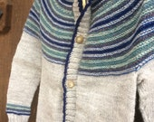 Hand Knitted Child's Wool Cardigan, Warm Winter Spring or Fall Knit Cardigan for Boys and Girls