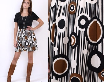 70's Graphic OP ART Geometric CIRCLE Print Mod Vintage Black Brown 60's Mini Dress Small
