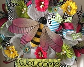 Colorful Bumble Bee...Flowers..Deco Mesh Wreath