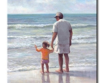 Father and Daughter on the Beach Art Tile Print on Ceramic with Hook or with Feet Indoor Use -Gift for Girls and Fathers
