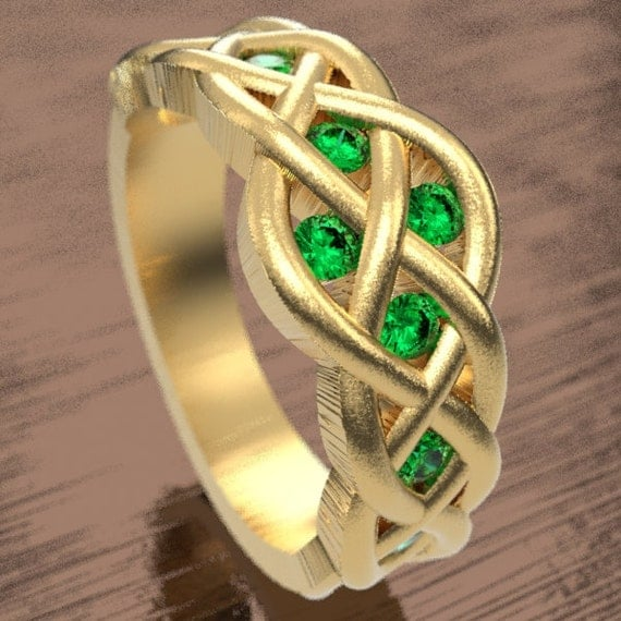 Celtic Emerald Wedding Ring With Woven Knotwork Design in 10K 14K 18K Gold, Palladium or Platinum Made in Your Size CR-764